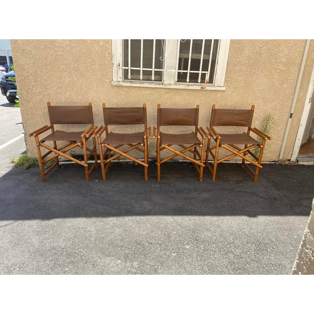 Vintage Set of 4 Leather Safari Chairs For Sale - Image 13 of 13
