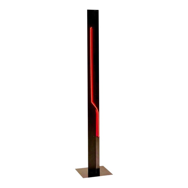 Rudi Stern Modern Standing Neon Red Torchier for Let There Be Neon Inc. For Sale