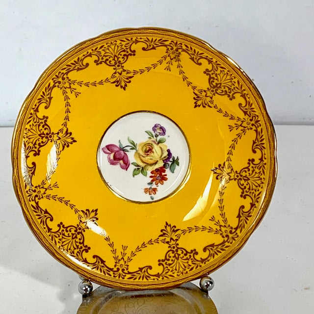 Ceramic Aynsley England Yellow Gold Gilt With Yellow Rose Floral Bouquet Cup & Saucer For Sale - Image 7 of 10