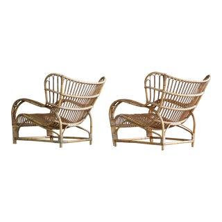 Pair of Danish Midcentury Rattan Lounge Chairs Model Vb 136 by Viggo Boesen for e.v.a. Nissen