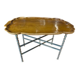 20th Century Hollywood Regency Faux Bamboo Brass Tray Table For Sale