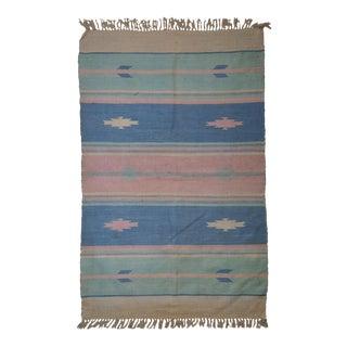1960s Handmade Indian Dhurri Kilim Rug - 4' x 6' For Sale