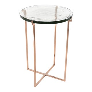 Glass Side Table with Rose Gold Metal Legs For Sale