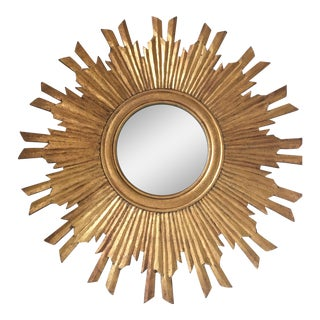 Gilt Wood Sunburst Mirror For Sale