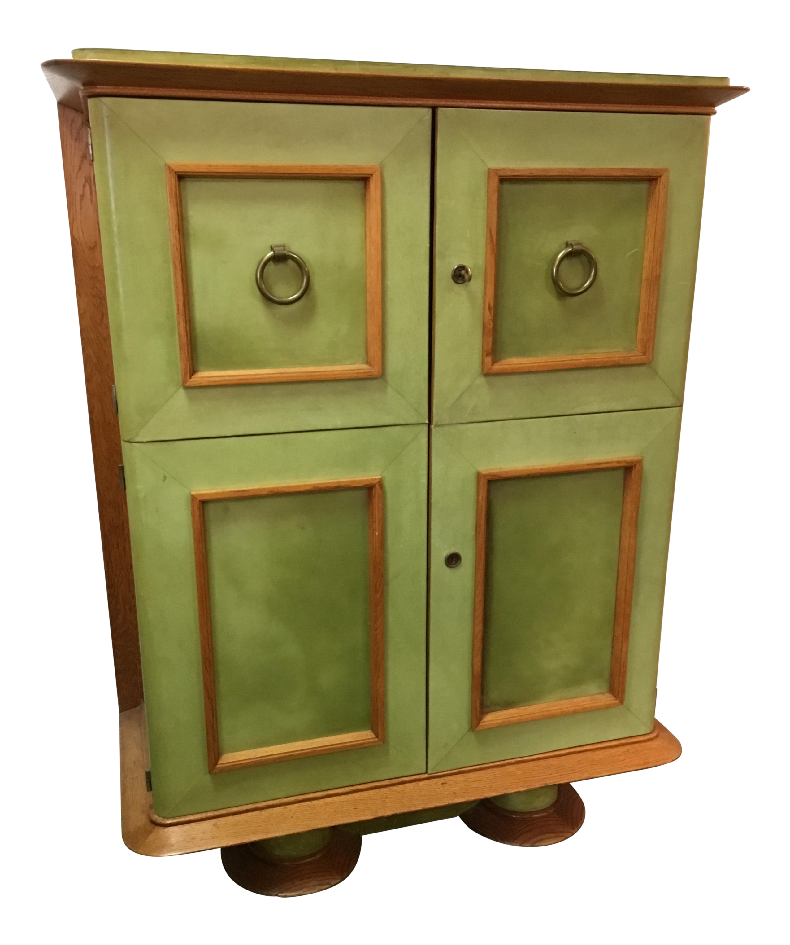 Art Deco Leather Wrapped Bar Cabinet For Sale