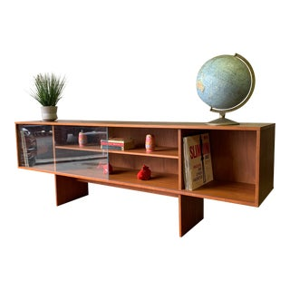 Long + Low Mid Century Modern Danish Teak Bookcase / Credenza by Lovig For Sale
