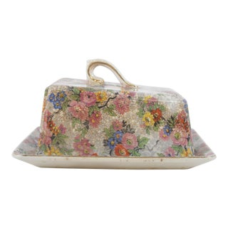 English Marina Chintz Covered Butter Dish For Sale