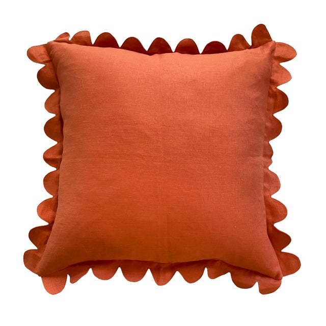 French Country Carly Home Paprika Scalloped Pillow For Sale - Image 3 of 3
