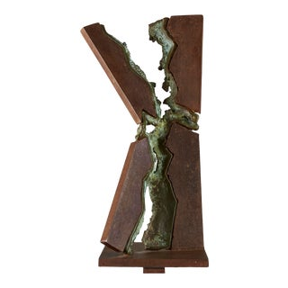Large Brutalist Steel and Patinated Bronze Sculpture For Sale