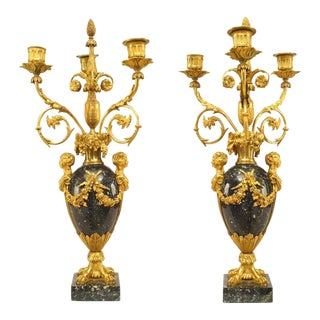 Pair of 1879 French Ormolu-Trimmed Marble Candelabrum by Henry Dasson For Sale