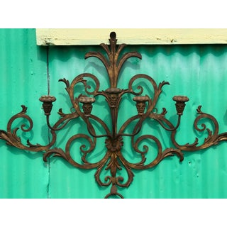 Antique Italian Gilt Metal 7 Candle Wall Sconce Preview