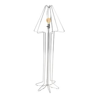Mid Century Modern Sculptural Chrome Plated Floor Lamp For Sale