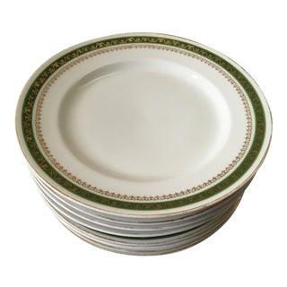 Royal Carlsbad Austrian Green & Gold China Plates- Set of 8 For Sale