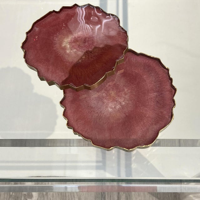 Contemporary Dwm | Maloos, Wine-Pink Epoxy Resin Hand-Cast Coasters- Set of 4 For Sale - Image 3 of 5