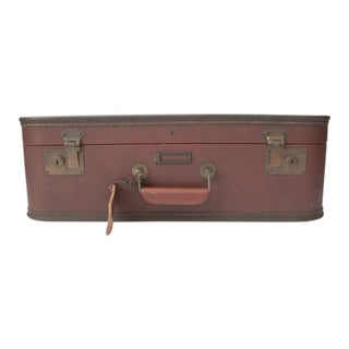 20th Century Boho Chic Red Silk Lined Suitcase For Sale