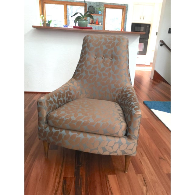 Mid-Century Modern Silk Leaf Upholstered Chair For Sale - Image 10 of 12
