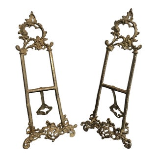 Late 20th Century Large Ornate Brass Easels - a Pair For Sale