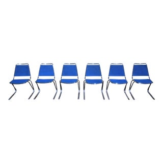 Vintage Set of 6 Mid Century Modern Fixtures Mfg Corp Padded Chrome Stacking Chairs For Sale