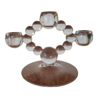 Mid 20th Century Vintage MCM Bubble Glass 3 Candle Holder For Sale