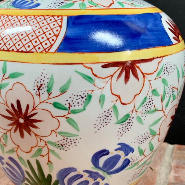Late 20th Century Vintage Chinese Porcelain Colorful Hand Painted Floral Vase For Sale - Image 5 of 9