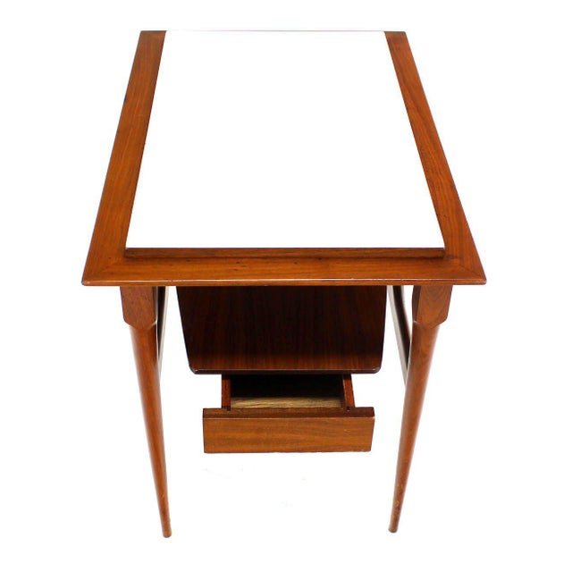 Lacquer Pair of Mid Century Modern Walnut One Drawer End Tables or Night Stands For Sale - Image 7 of 9