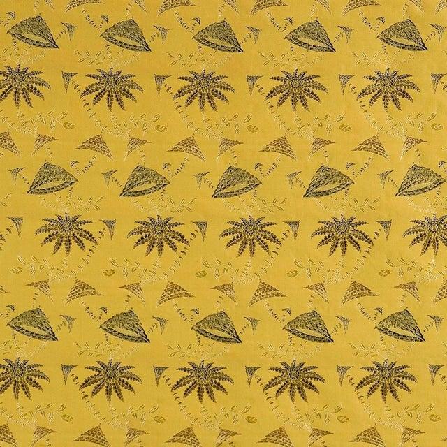 Suzanne Tucker Home Sample, Suzanne Tucker Home Brighton Bizarre Silk Satin Brocade in Golden For Sale - Image 4 of 4