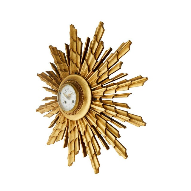 American Vintage Gilded Wall Clock For Sale - Image 3 of 6