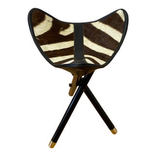 Folding Campaign Hunting Seat With Genuine Zebra Hide C.1970