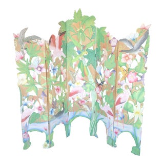 Hand Painted Coastal Regency Island Style Wood Carved Screen For Sale