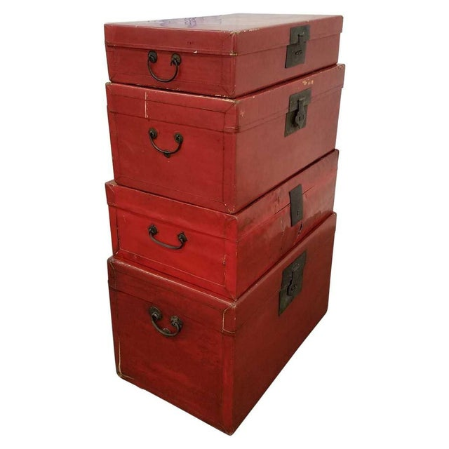 Chinese Lacquered Trunks For Sale - Image 4 of 8