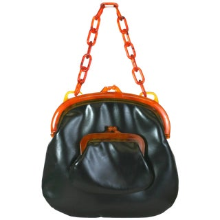 Koret Bakelite Trimmed Double Pouch Bag For Sale