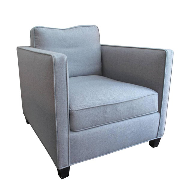 Contemporary Custom Roma Chair in Grey Flannel For Sale - Image 3 of 3