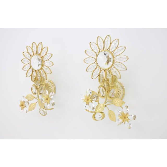 Pair of Wall Sconces Crystal Glass and Brass by Faustig Germany, 1970s For Sale - Image 10 of 10