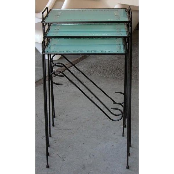 A Set of 3 American Wrought Iron Nesting Tables w/Glass Tops - Image 3 of 4