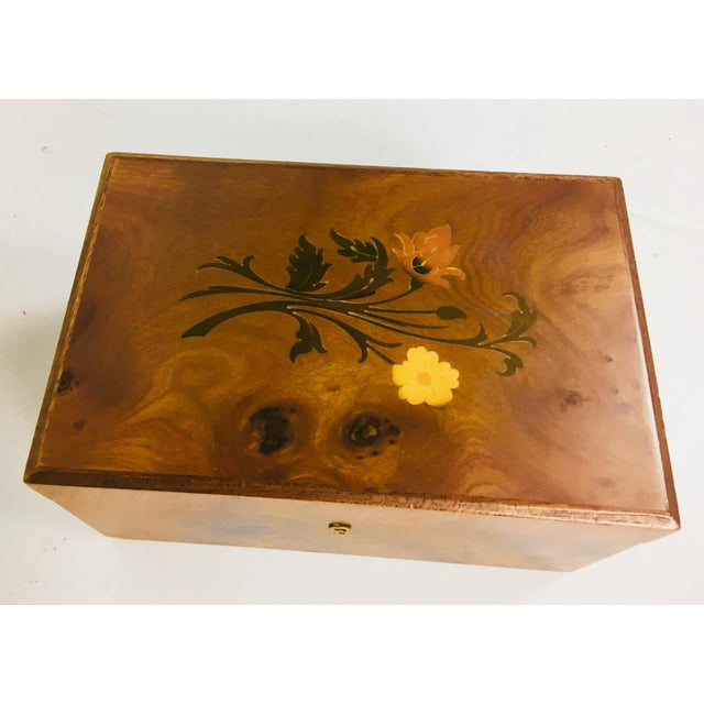 Inlaid Walnut Dresser Box For Sale - Image 9 of 10