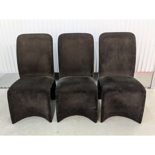 Postmodern Modernist Sculptural Ribbon Velvet Dining Chairs - Set of 3 For Sale - Image 3 of 13