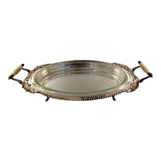 Crown Silver Co., Silver-Plated Oval Serving Dish, W/ Glass Insert For Sale