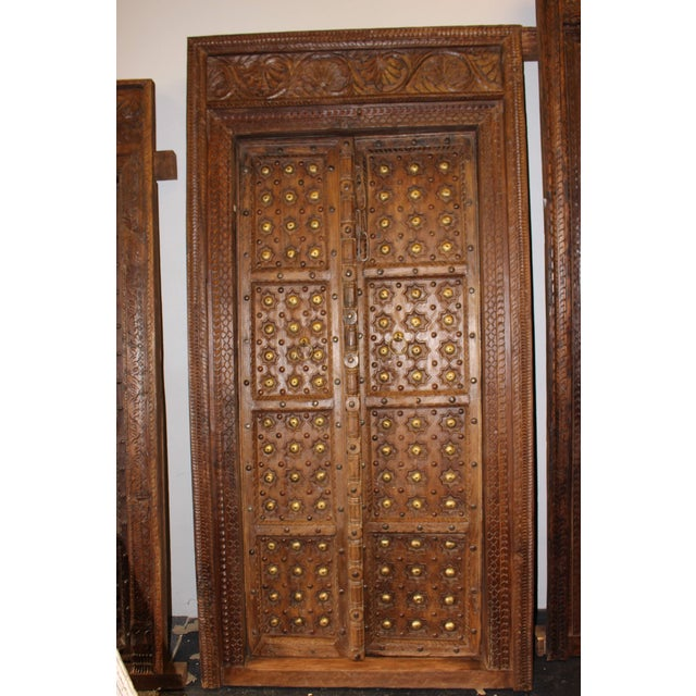 Asian Antique Indian Hand Carved Wooden Door and Frame For Sale - Image 3  of 7 - Antique Indian Hand Carved Wooden Door And Frame Chairish
