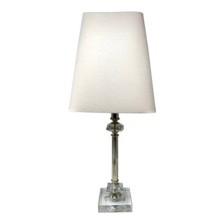 Restoration Hardware Crystal & Silver Table Lamp With Linen Shade For Sale