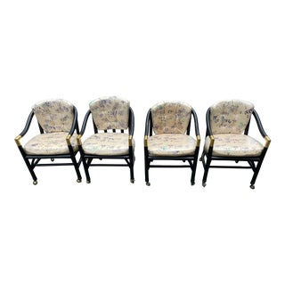 Mid-Century Modern Bamboo and Brass Dining Chairs - Set of 4 For Sale