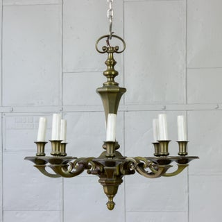 1940's French Bronze Neoclassical Style Chandelier With 8 Arms Preview