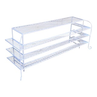 Vintage Hollywood Regency White Wrought Iron Console