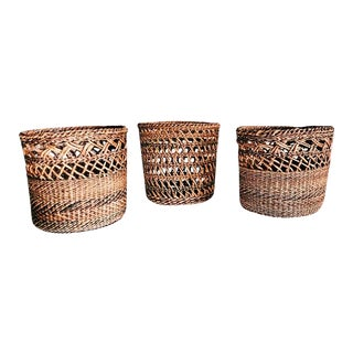 Boho Chic Woven Rattan Baskets - Set of 3
