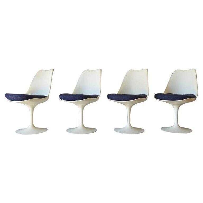 1965 Mid Century Modern Eero Saarinen For Knoll Tulip Dining Chairs   Set  Of 4