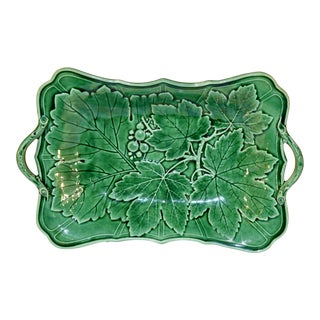 19th Century English Majolica Handled Dish For Sale