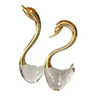 Vintage Murano Bubble Glass Swans- a Pair For Sale