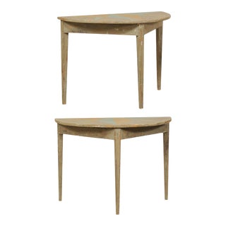 19th Century Antique Swedish Painted Wood Demi-Lune Tables - a Pair For Sale