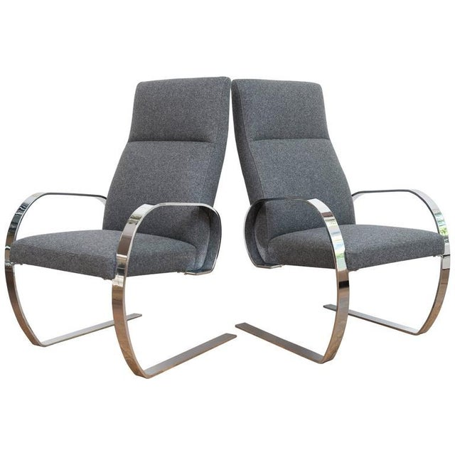 Gray Wool & Chrome Cantilever Armchairs - a Pair For Sale - Image 9 of 9