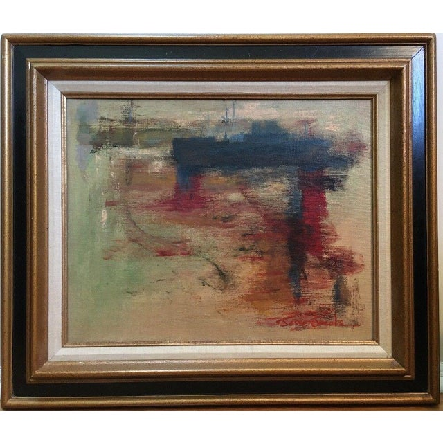 1975 Vintage Mid Century Abstract Expressionist Oil Painting, Signed Jesse Jacobs For Sale - Image 11 of 11