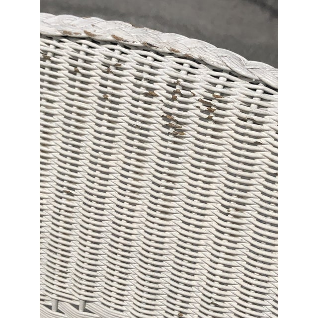 Wicker Vintage Heywood Wakefield Wicker Settee with Pillows For Sale - Image 7 of 12